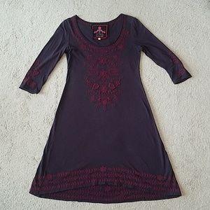 Johnny Was deep purple/eggplant dress